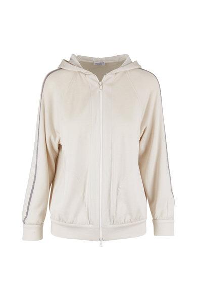 Brunello Cucinelli - Ivory Cotton & Silk Spa Zip Hoodie