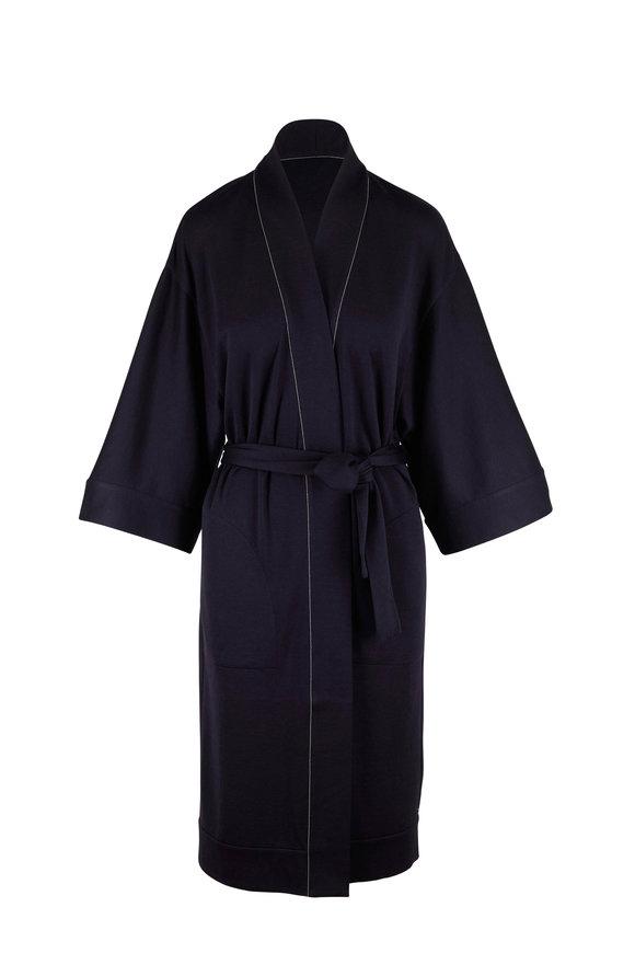 Brunello Cucinelli Navy Blue Cotton & Silk Robe