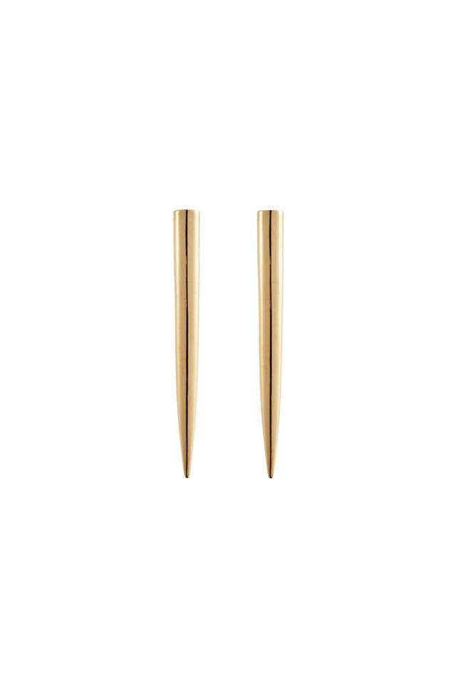 Brass Gold Plate Long Spike Stud Earrings