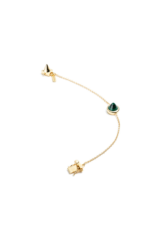 Gold Malachite Cone Bracelet