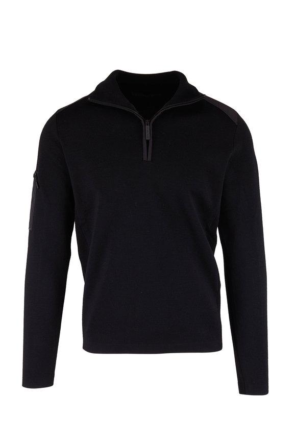Canada Goose Stormont Black Wool Quarter-Zip Pullover