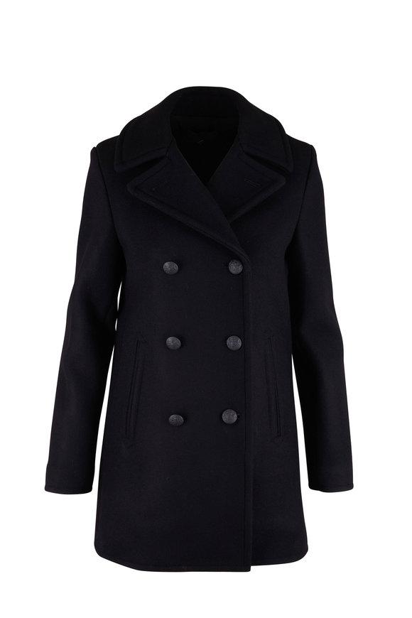 Nili Lotan Cash Black Wool Peacoat