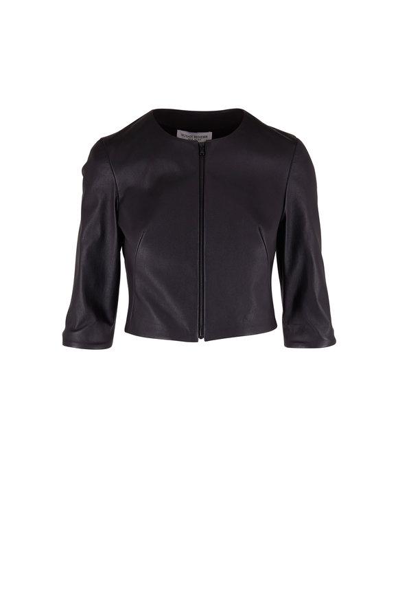 Susan Bender Black Stretch Leather Crop Cardigan Jacket