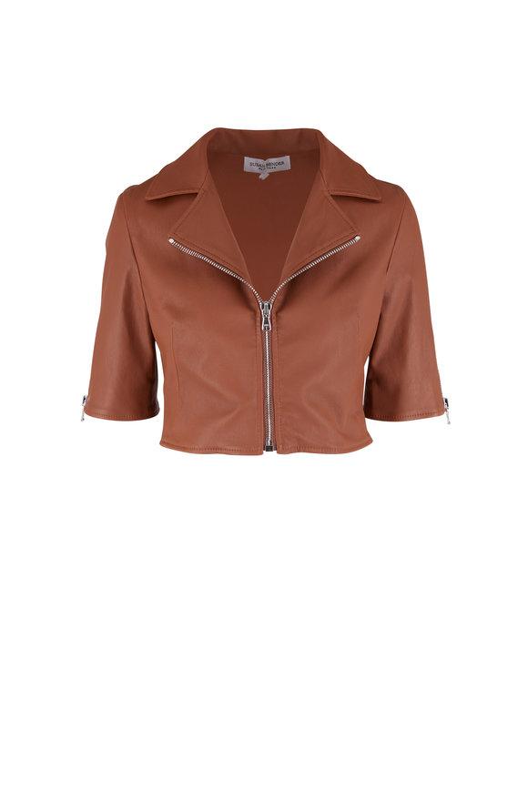 Susan Bender Saddle Leather Crop Moto Jacket