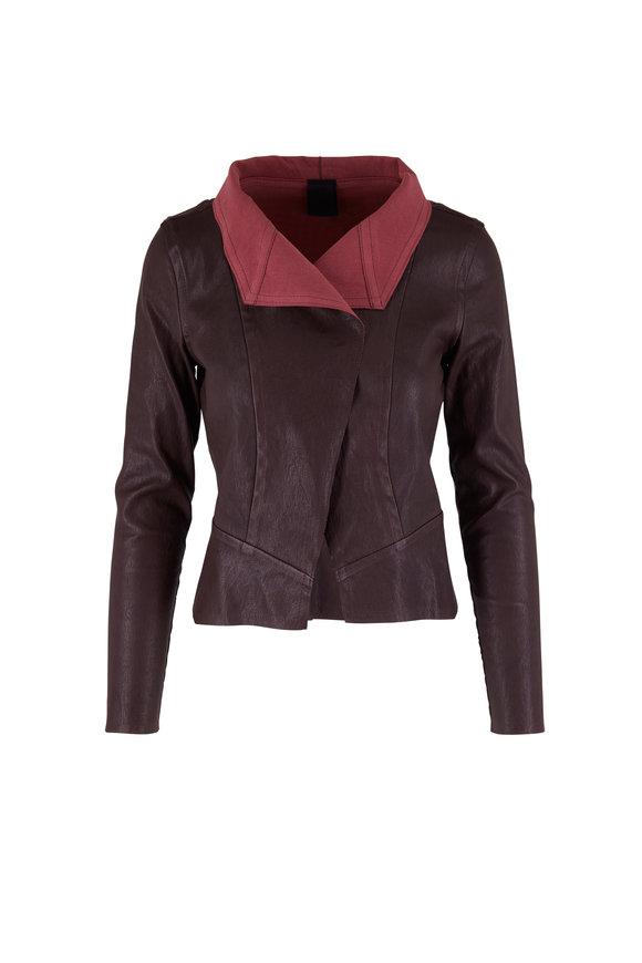 KZ_K STUDIO Maroon Draped Leather Jacket