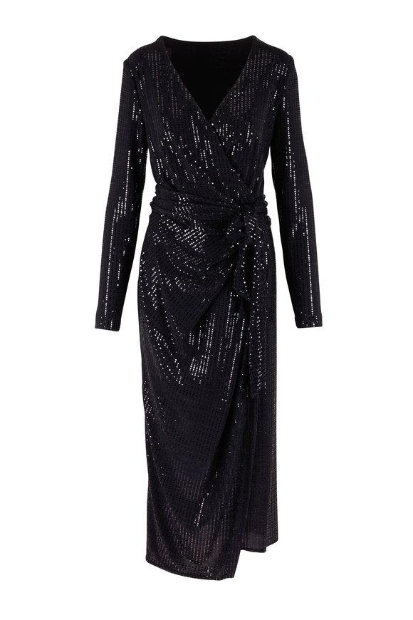Talbot Runhof Botin4 Black Sequin Long Sleeve Wrap Dress