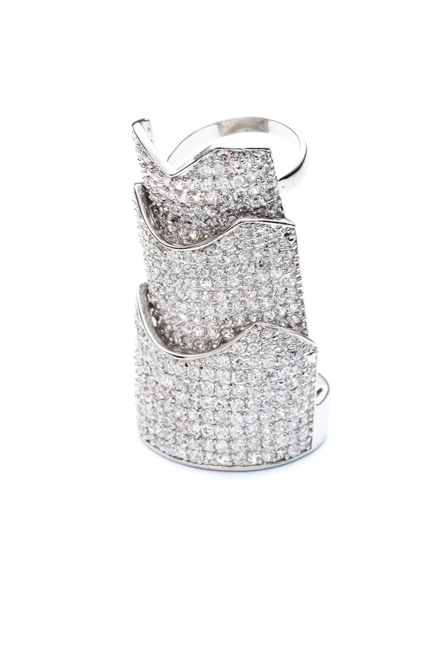 Pavé-Set Crystal Hinged Plate Ring