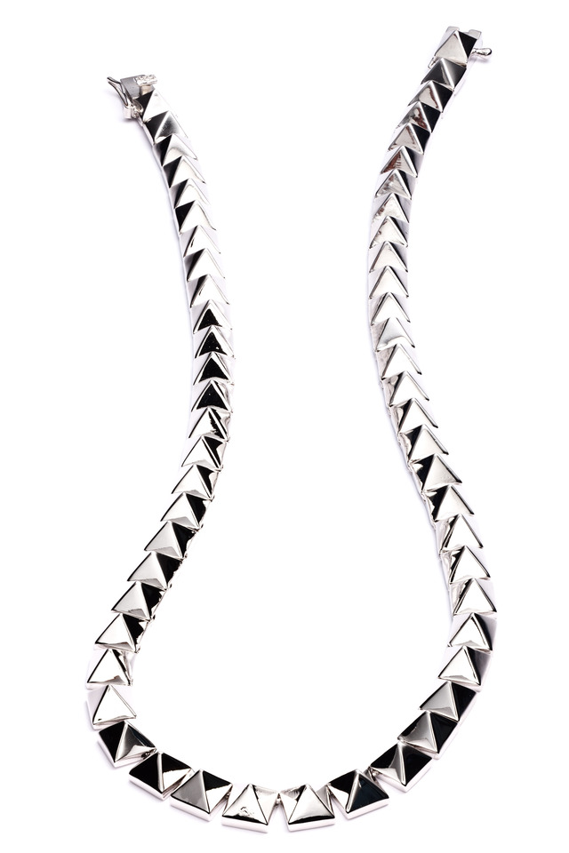 Silver Plate Pyramid Necklace