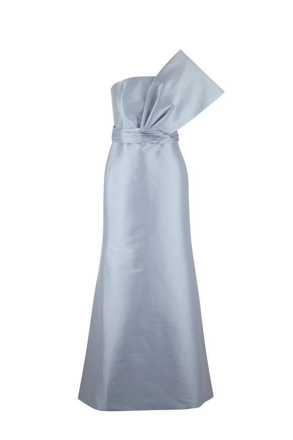 Sachin + Babi Hannah Ash Blue One Shoulder Gown