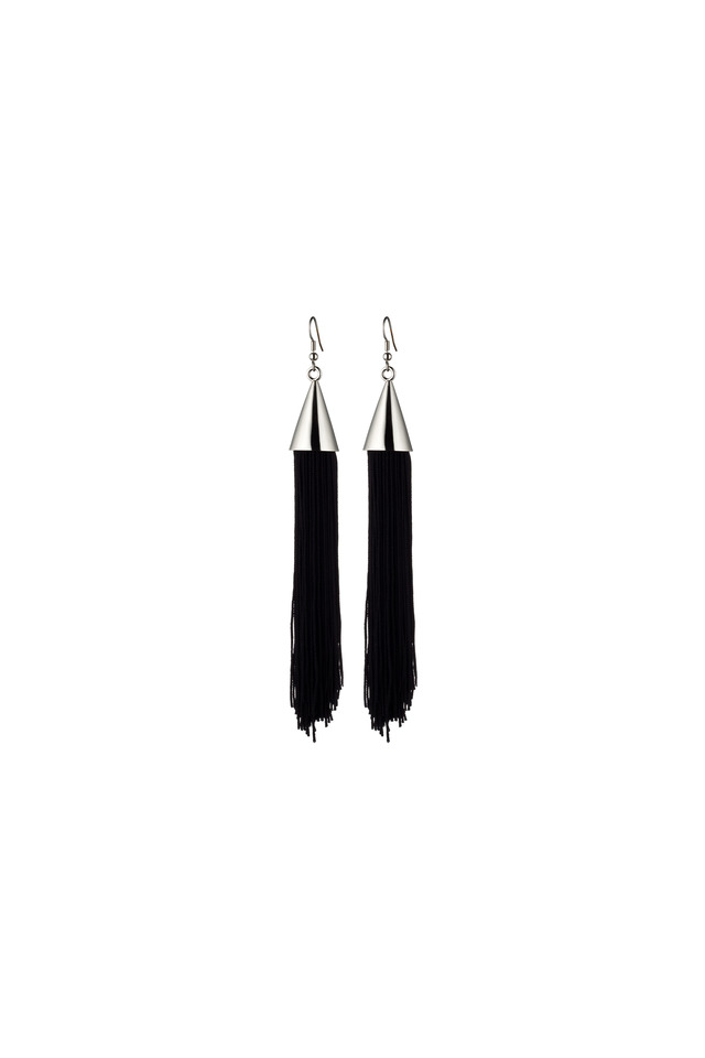 Sterling Silver Black Silk Tassel Earrings