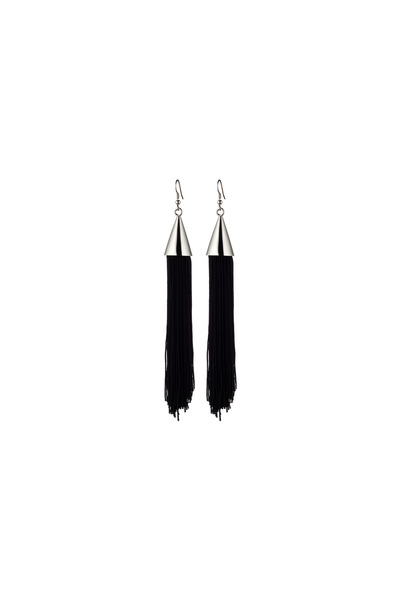 Eddie Borgo - Sterling Silver Black Silk Tassel Earrings