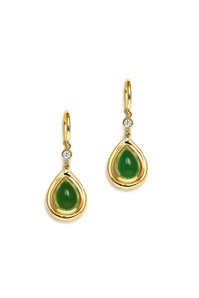 Green Chalcedony Teardrop Gold Diamond Earrings
