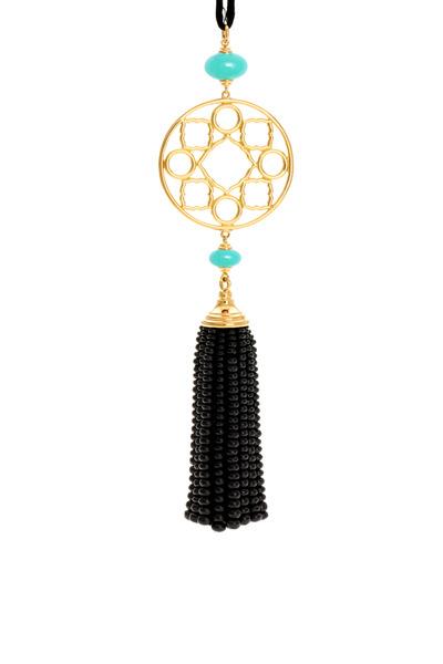 Syna - Gold Mogul Tassel Crysoprase Pendant Necklace