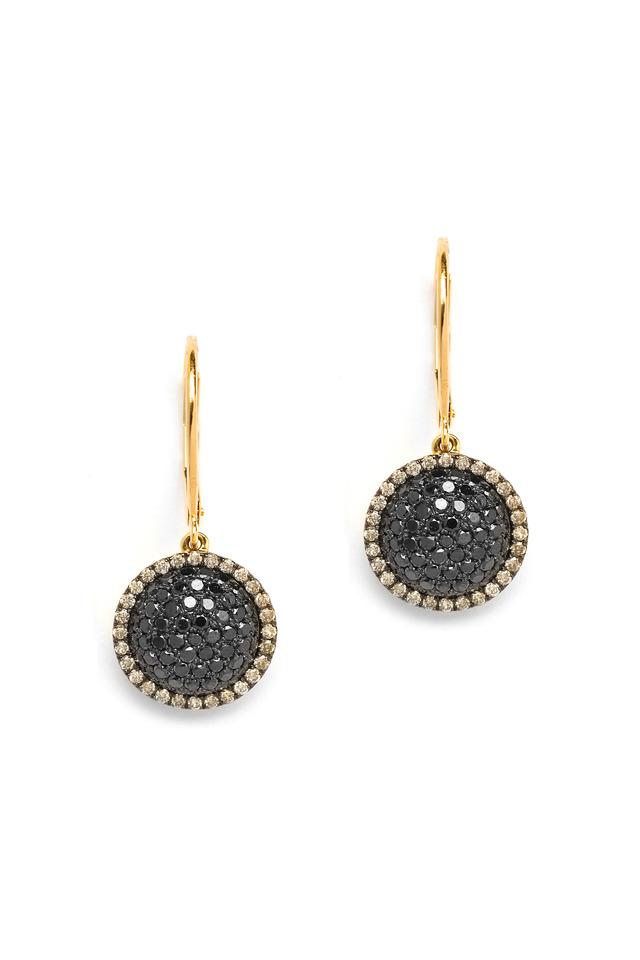 Chakra Black & Champagne Diamond Gold Earrings