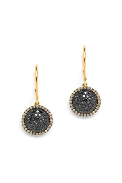 Syna - Chakra Black & Champagne Diamond Gold Earrings