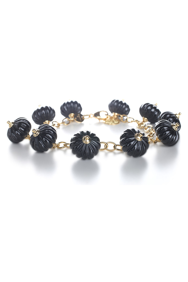 Lantern Yellow Gold Black Spinel Charm Bracelet