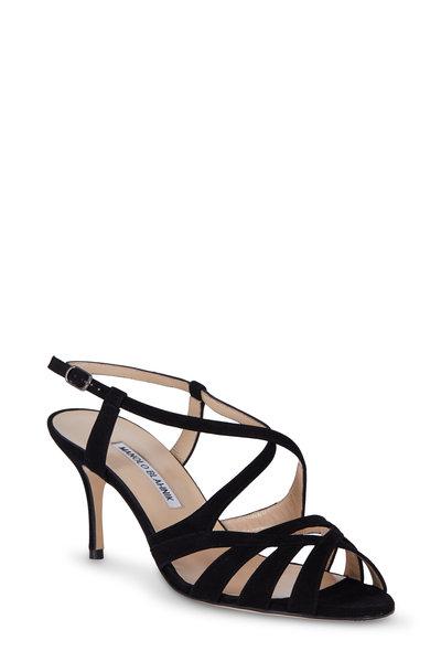 Manolo Blahnik - Riopia Black Suede Sandal, 70mm
