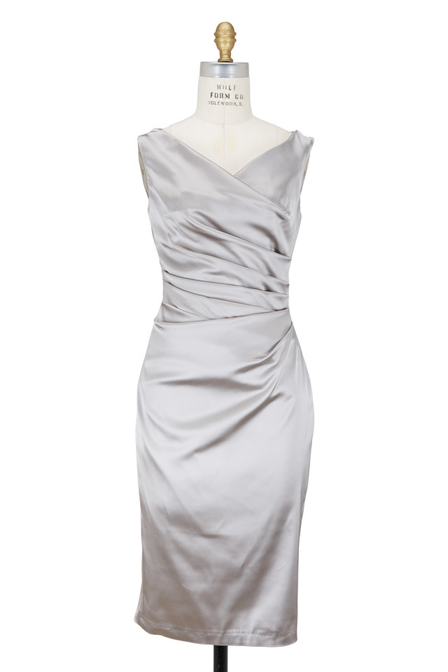 Talbot Runhof - Silver Satin Side-Ruched Fitted Cocktail Dress ...