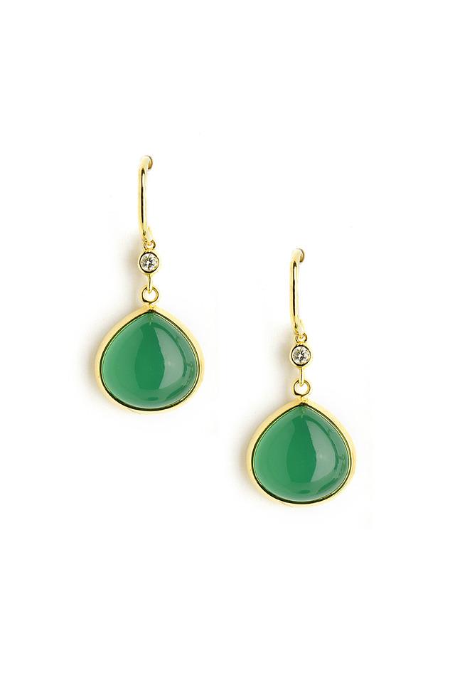 Gold Chalcedony & Diamond Heart Earrings
