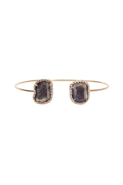 Kimberly McDonald - Rose Gold Dark Geode White Diamond Cuff Bracelet