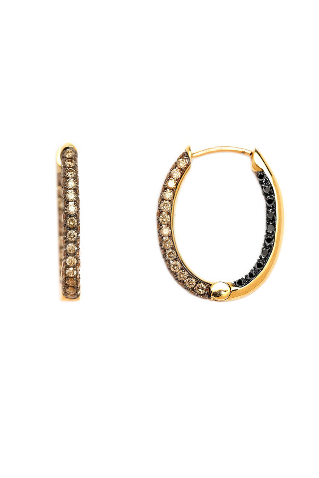 18K Yellow Gold Champagne & Black Diamond Hoops