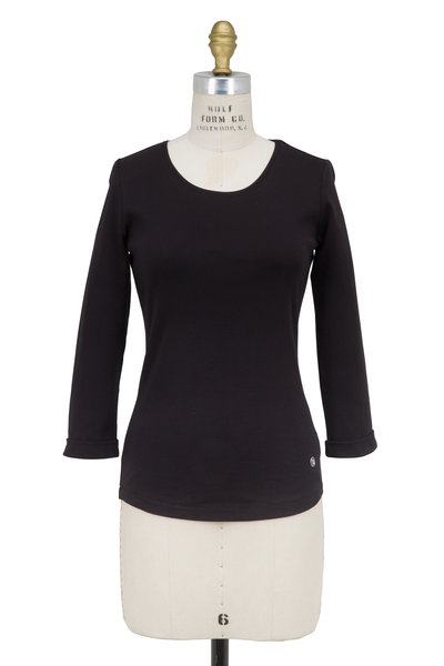 Bogner - Greta Black Cotton Scoop Neck 3/4 Sleeve Top