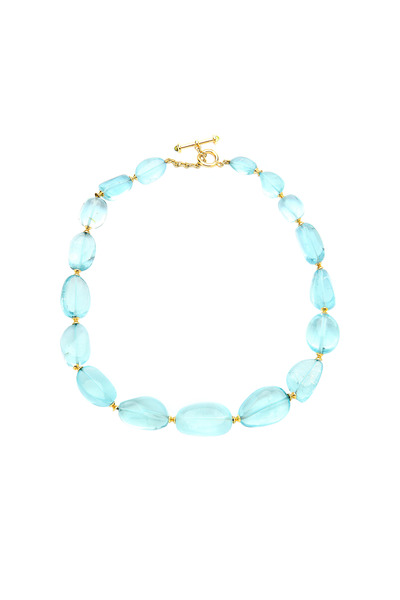 Syna - Yellow Gold Aquamarine Bead Necklace