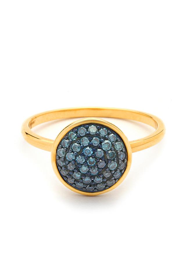 18K Yellow Gold Chakra Blue Diamond Ring