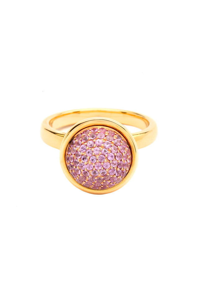 Yellow Gold Large Pink Sapphire Bauble Ring