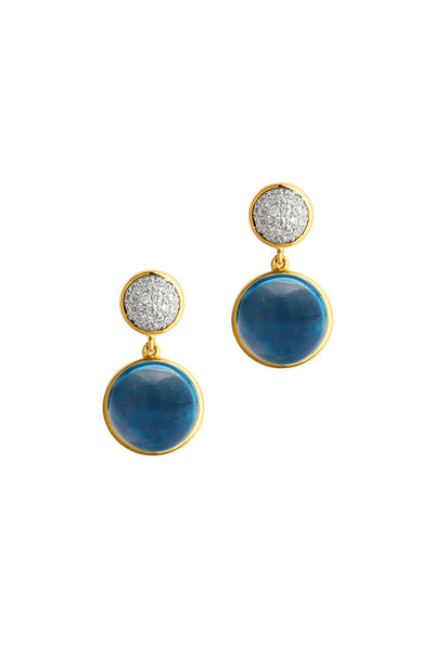 Syna - London Blue Topaz Gold Diamond Bauble Earrings