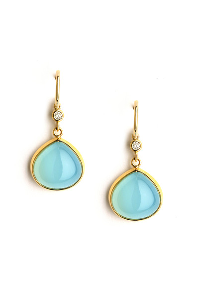 Syna - Gold Diamond Aqua Chalcedony Earrings