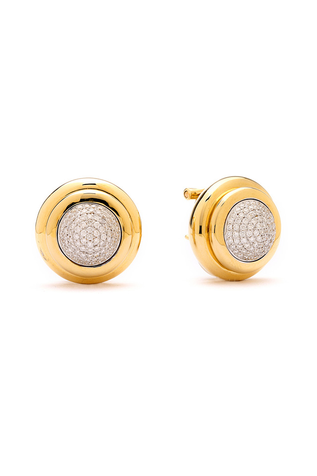 Yellow Gold & Diamond Round Back Clip Earrings