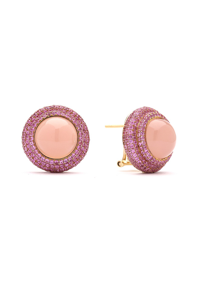 Pink Chalcedony Pink Sapphire Gold Earrings