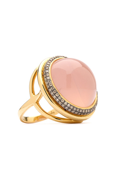 Syna - Mogul Rose Quartz Champagne Diamond Gold Ring