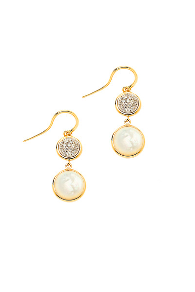 Syna - Chakra Mother Of Pearl Gold Earrings