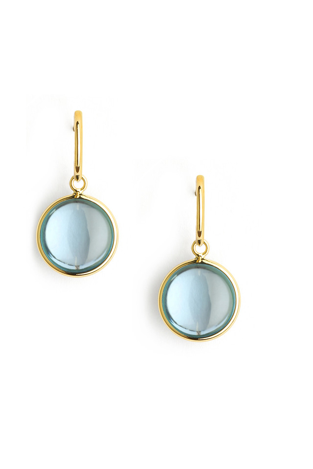 Chakra Blue Topaz Gold Earrings