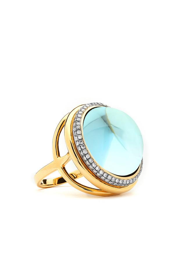Large Mogul Blue Topaz Gold Diamond Ring