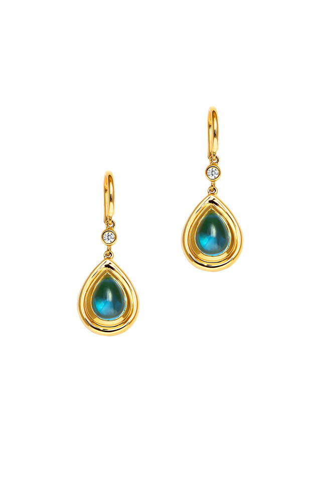 Yellow Gold Blue Topaz Diamond Drop Earrings