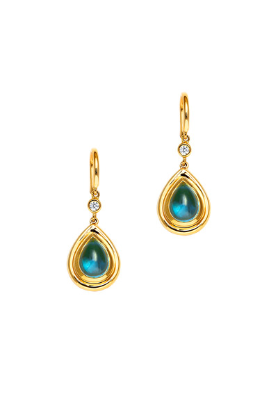 Syna - Yellow Gold Blue Topaz Diamond Drop Earrings