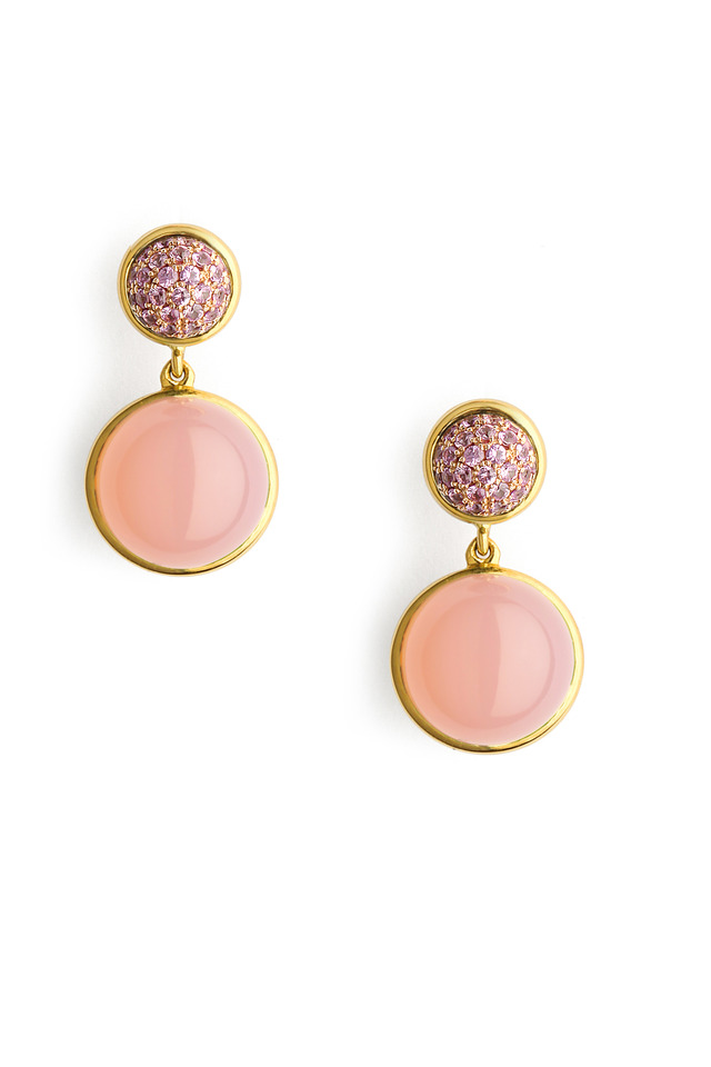 Pink Chalcedony Pink Sapphire Bauble Earrings