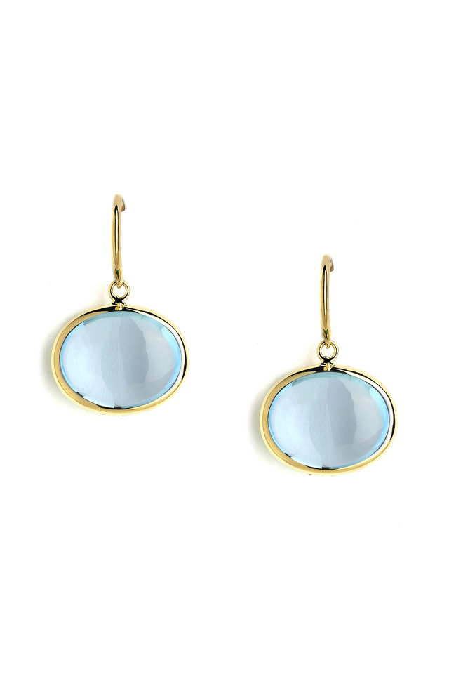 Gold Blue Topaz French Wire Earrings