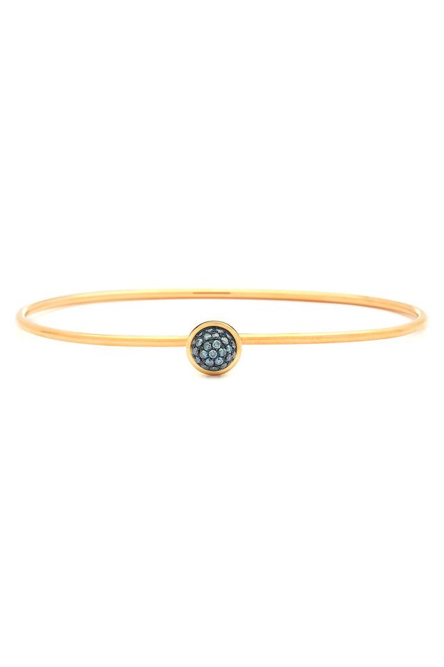 Gold Blue Diamond Stacking Bauble Bracelet