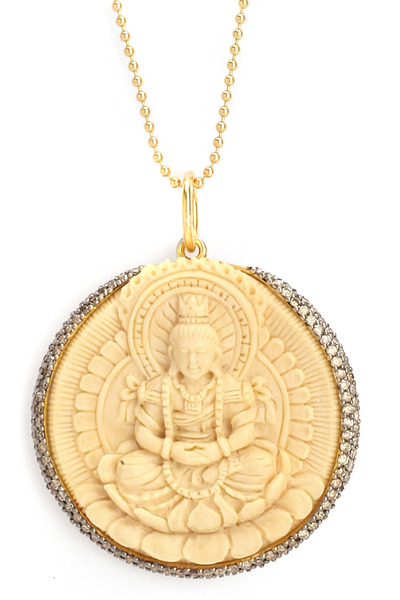 Syna - Diamond Mammoth Ivory Gold Sitting Buddha Necklace