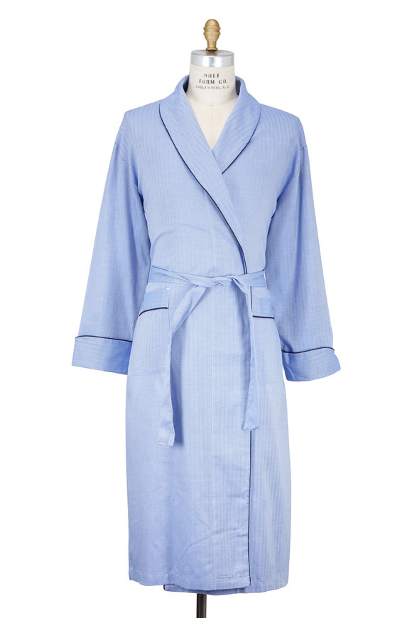 Majestic Blue Cotton Herringbone Robe