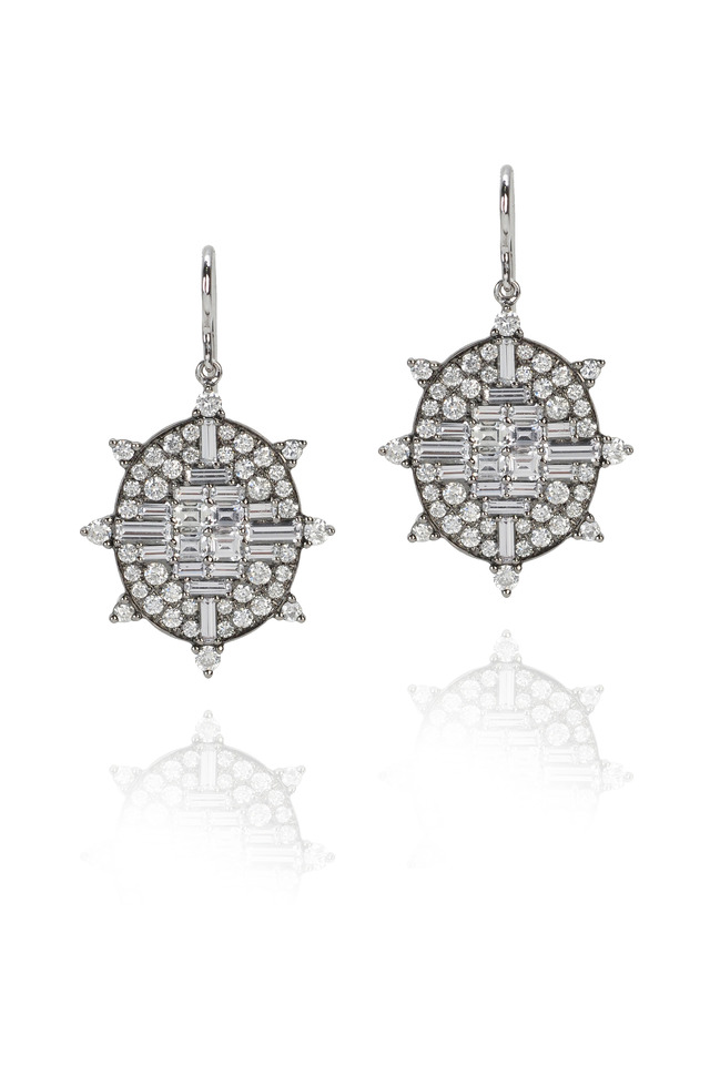 White Gold Sapphire Diamond Drop Earrings