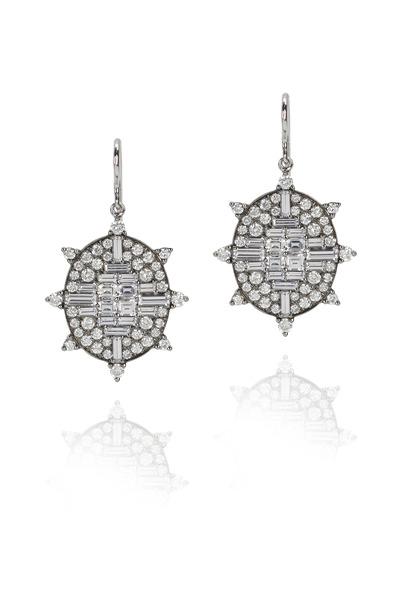Nam Cho - White Gold Sapphire Diamond Drop Earrings