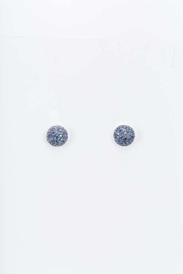 White Gold Blue Sapphire Ball Stud Earrings