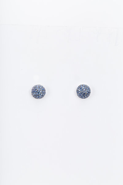 Nam Cho - White Gold Blue Sapphire Ball Stud Earrings