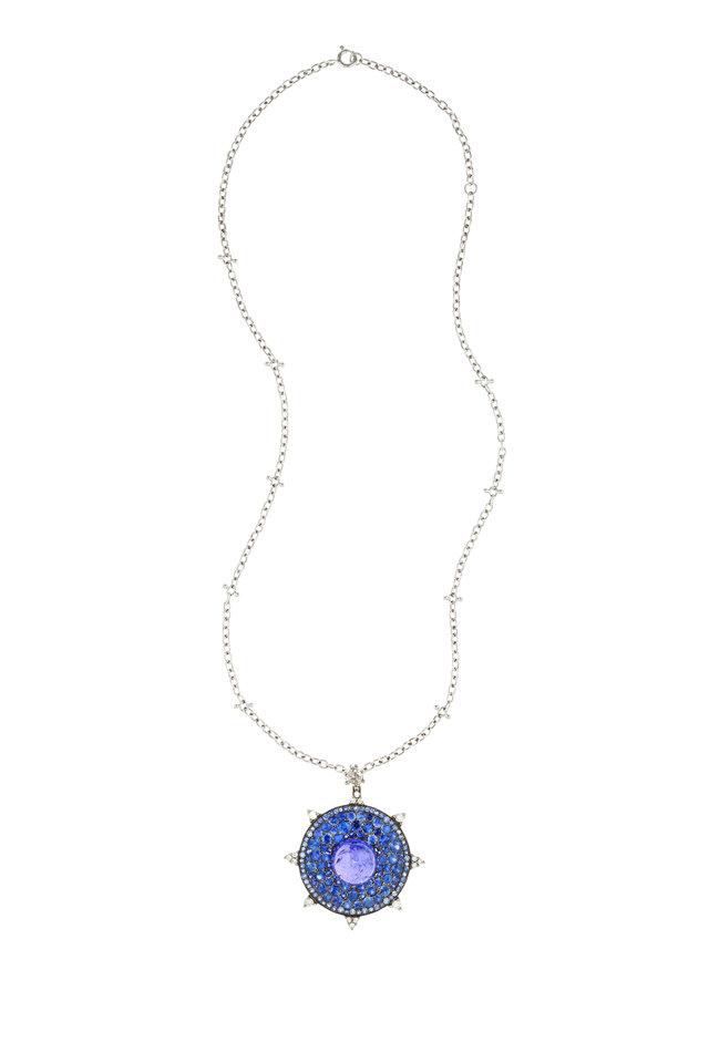 White Gold Sapphire, Tanzanite & Diamond Pendant