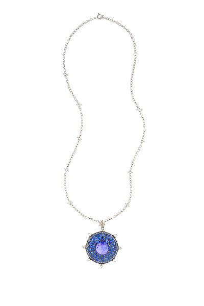 Nam Cho - White Gold Sapphire, Tanzanite & Diamond Pendant